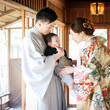 名古屋城のお茶室でファミリーフォトウェディング