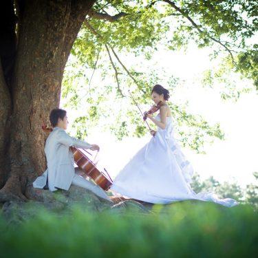 木の下で楽器を演奏しながら前撮り撮影