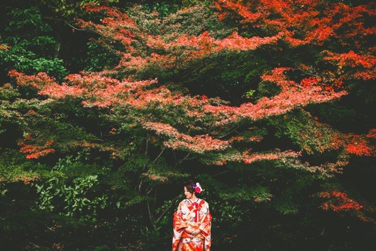 真っ赤な紅葉と新婦さん