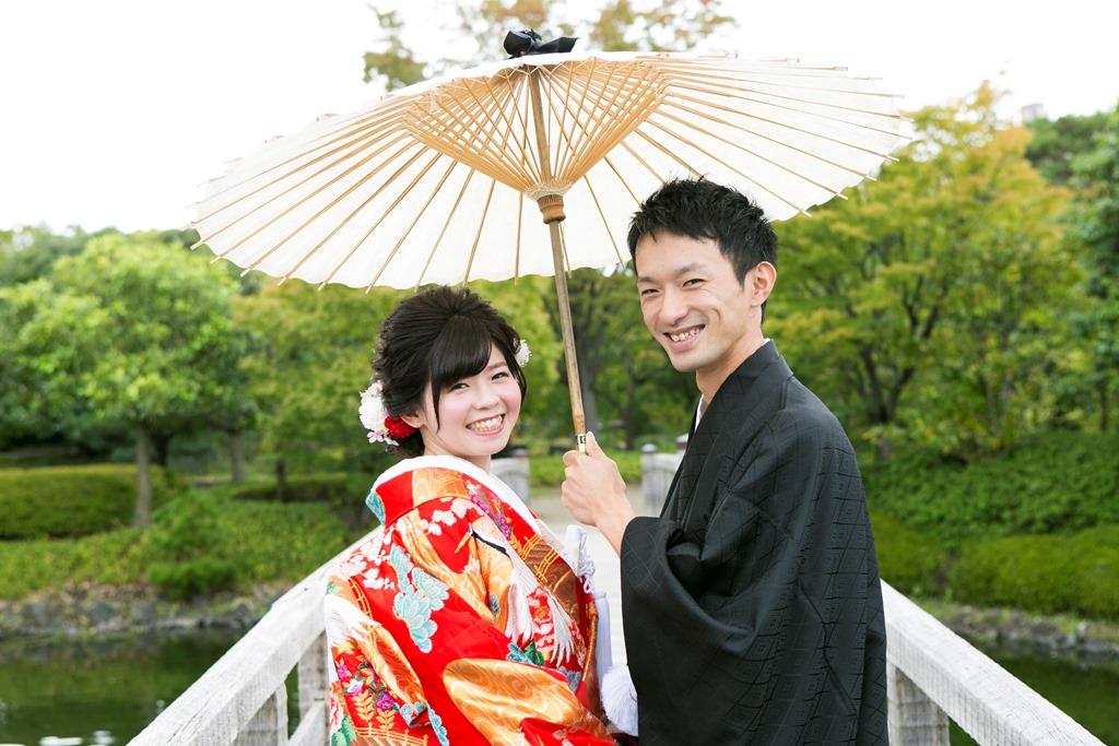 白鳥庭園 和傘で相合傘♡
