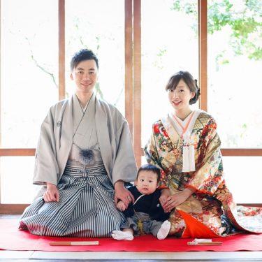 名古屋城のお茶室で息子と撮った家族の結婚写真