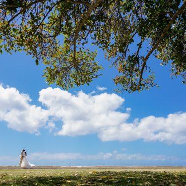 ハワイの広く大きな空の下でフォトウェディング