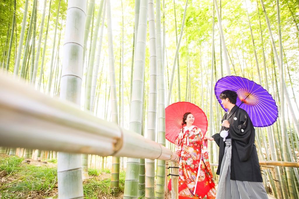 竹藪の中で撮影した和装前撮り写真
