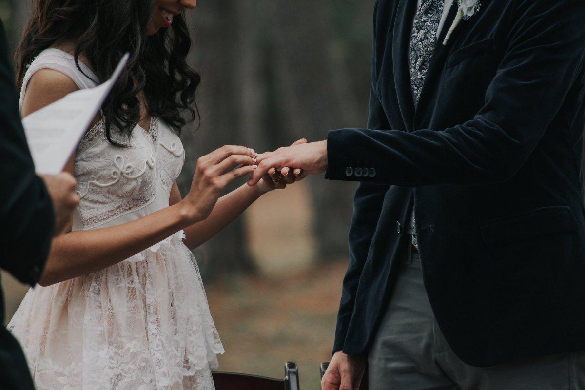 指輪の交換のシーン