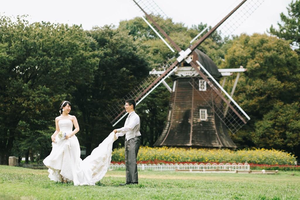オランダ風車がある名城公園でロケーション撮影