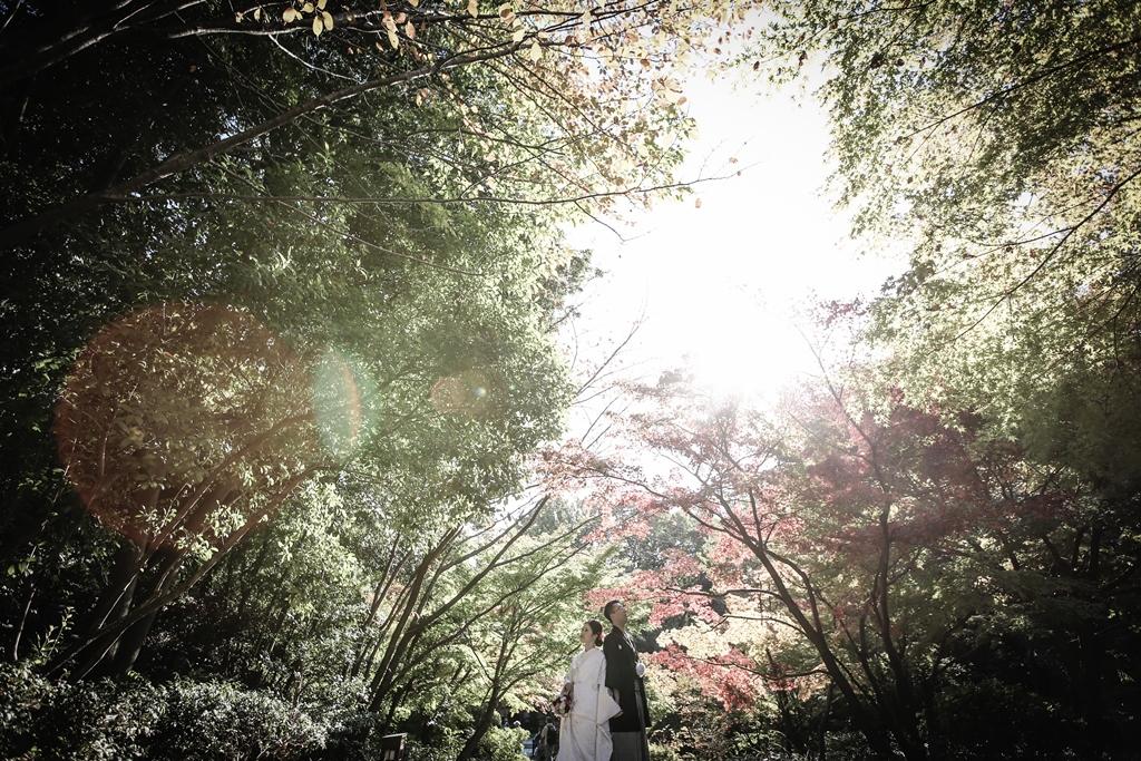 赤・橙・緑に彩られた「徳川園」で前撮り