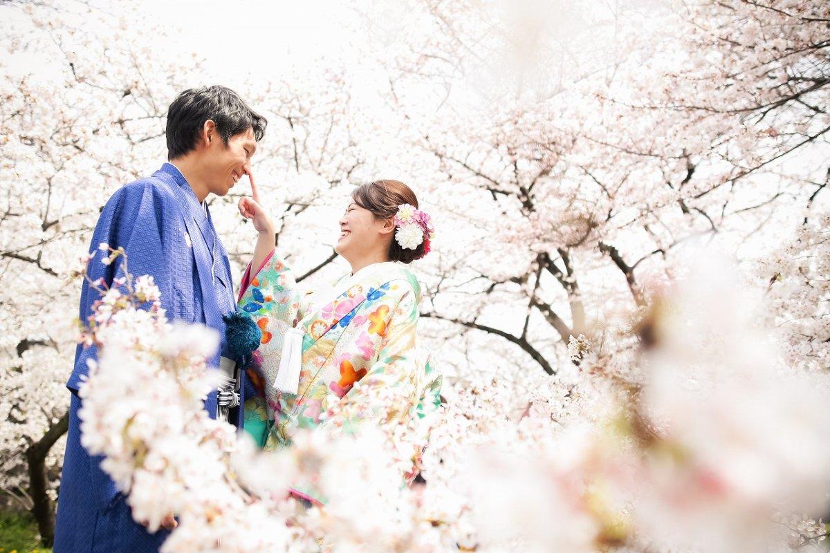 名古屋城での桜と一緒に和装撮影