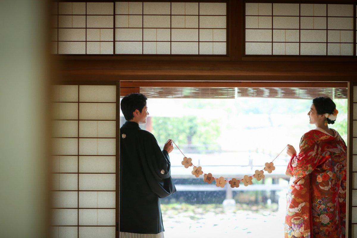 雨雫が美しい和装の、前撮り