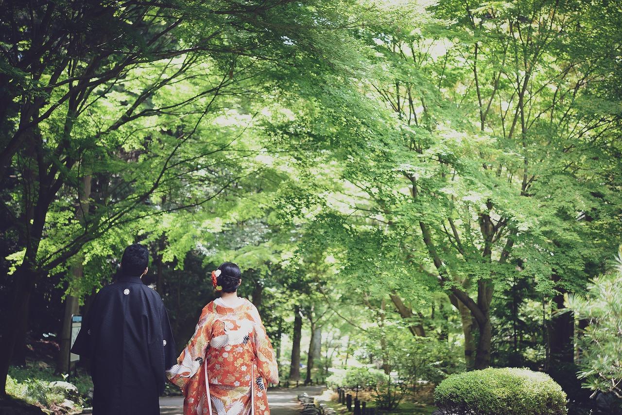 緑に包まれた東山植物園にてお散歩気分で前撮り♪
