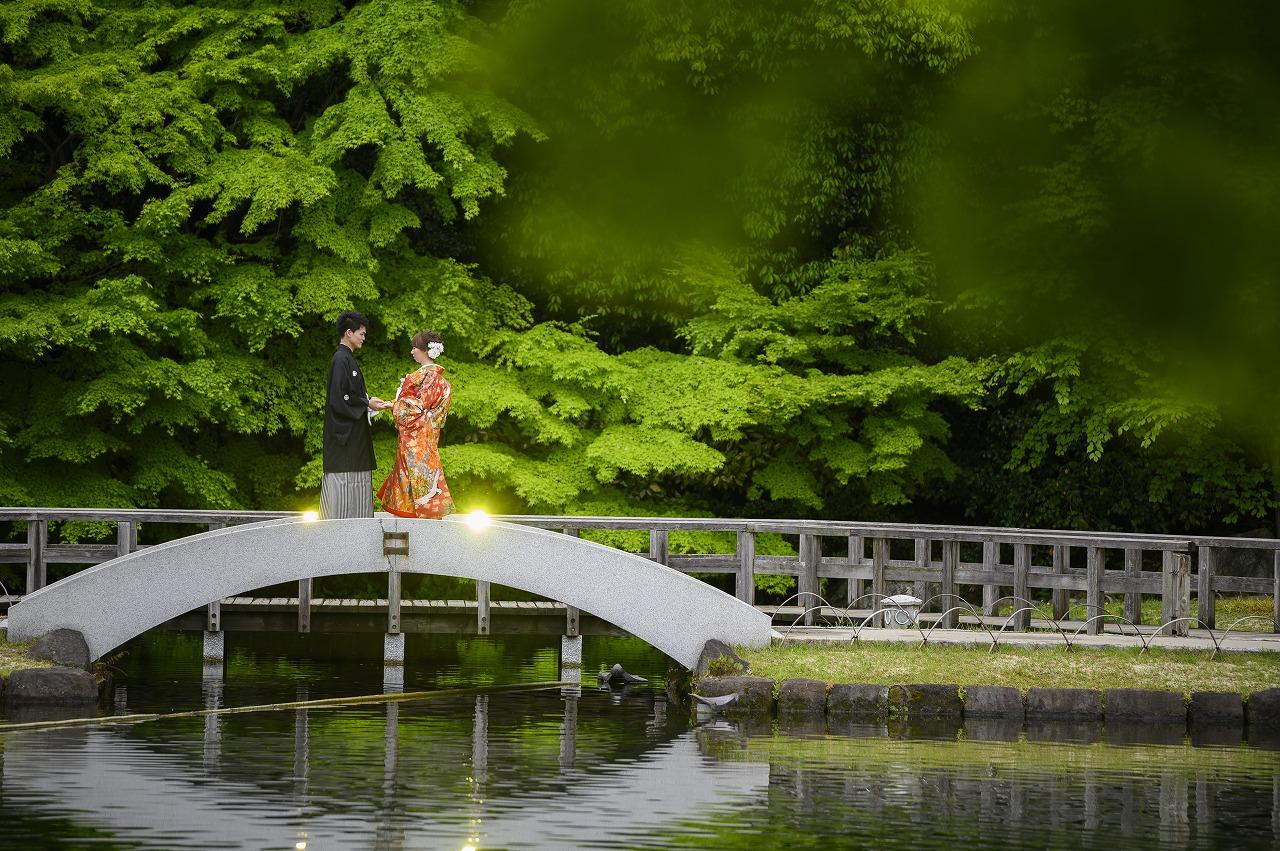 奥深い緑に包まれた「徳川園」での前撮り
