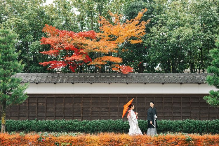 和傘をさしお散歩気分で前撮り