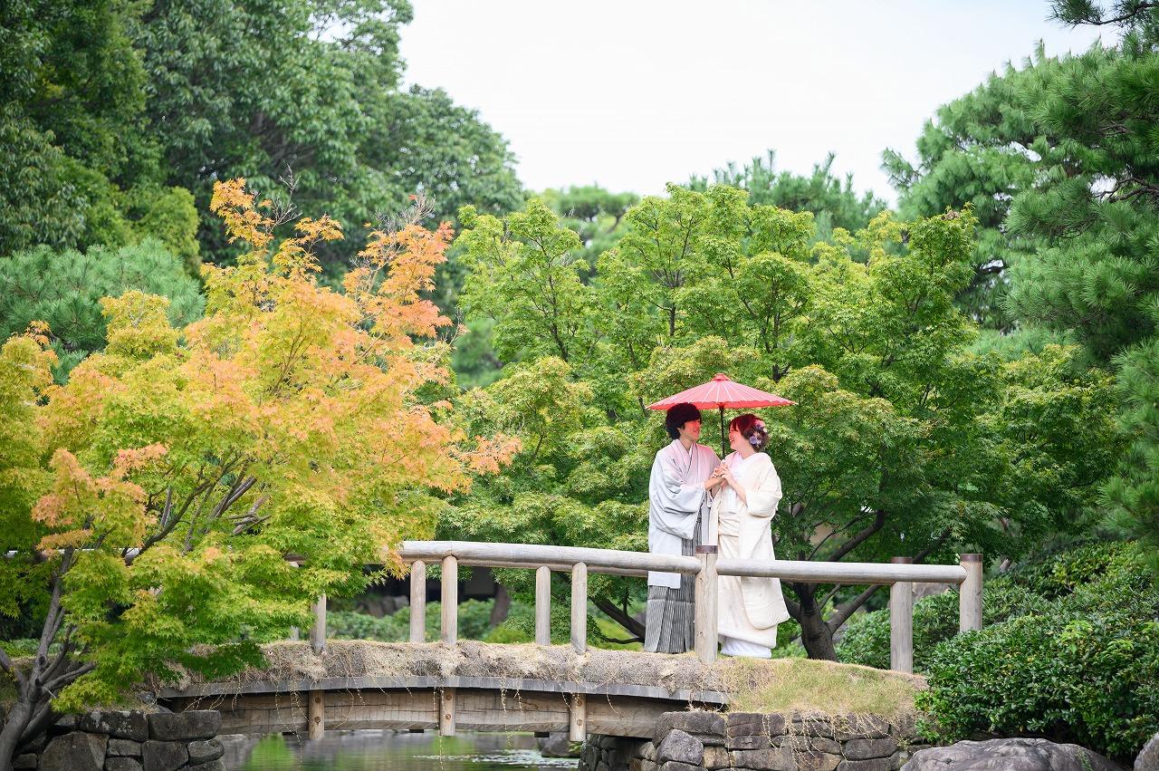爽やかな和装ロケーション撮影 in白鳥庭園