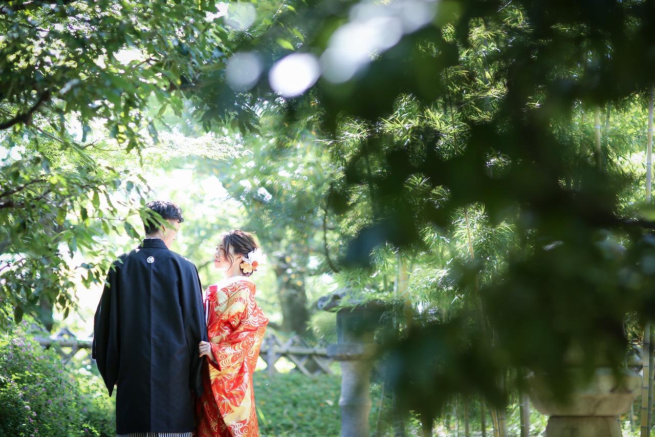 緑豊かな中村公園で和装ロケーション撮影
