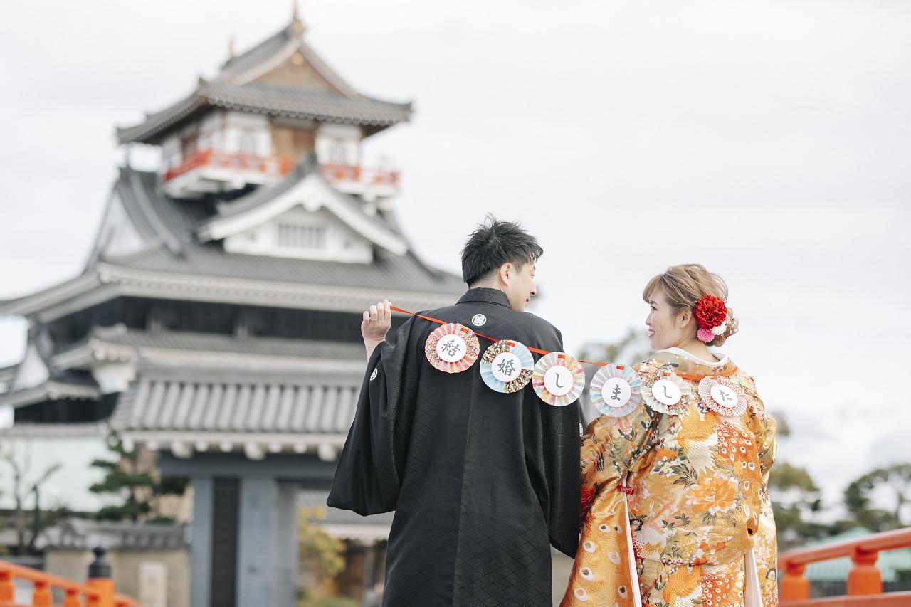 慣れ親しんだ地元のお城で結婚式の前撮りを…