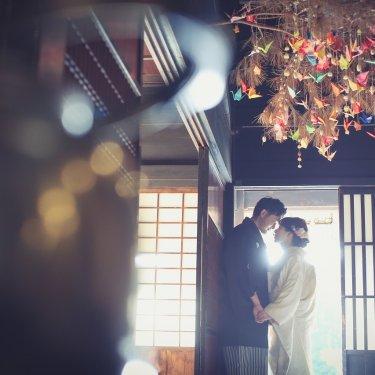 鶴のアートがキュートな撮影風景