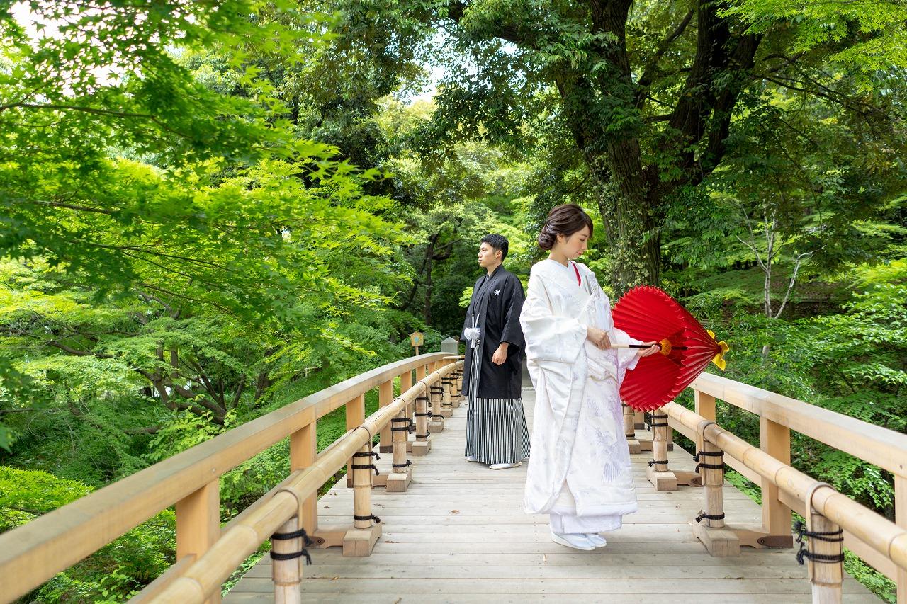 晴天のなか歴史ある日本庭園での前撮り㏌徳川園