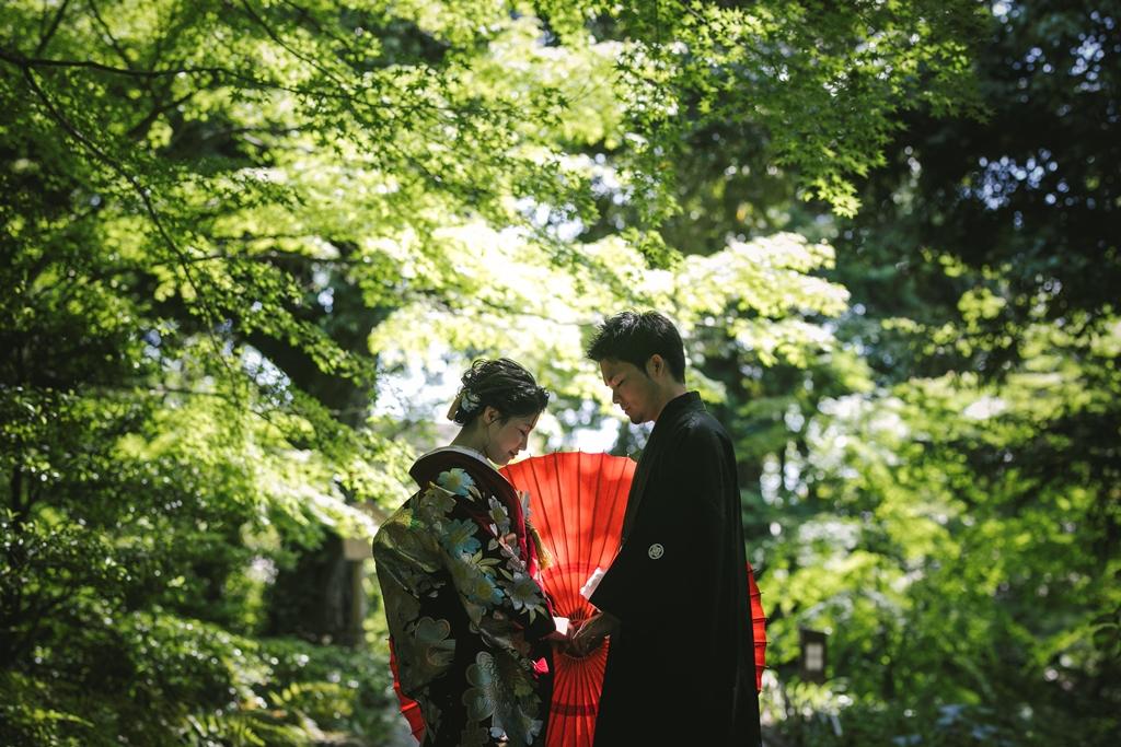 新緑が美しい徳川園でロケーション前撮り