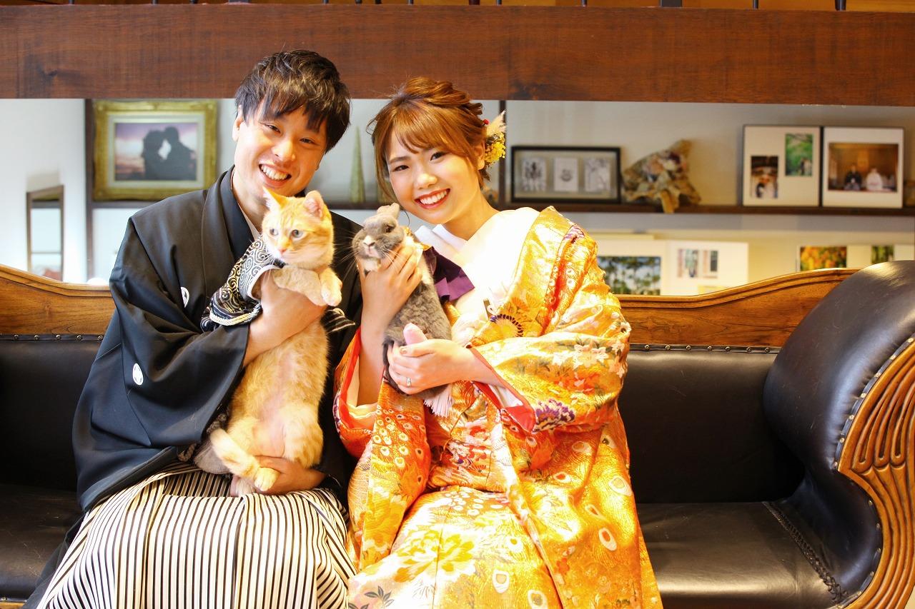 大事な家族の猫ちゃん、うさぎちゃんと一緒に和装撮影。