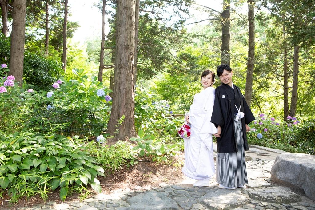 紫陽花も咲く白鳥庭園で和装前撮り