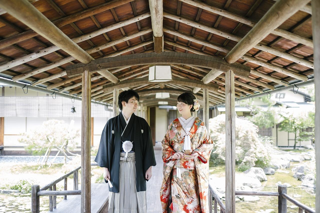 歴史ある日本庭園でのロケーション和装撮影