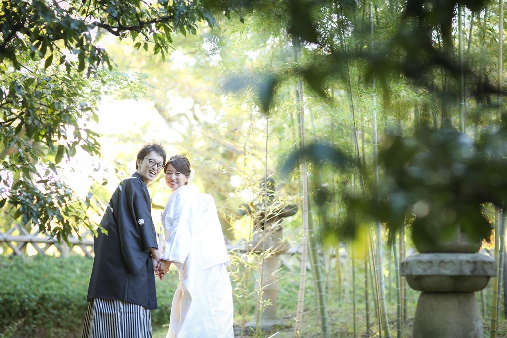 中村公園の竹林と白無垢姿の新婦さん