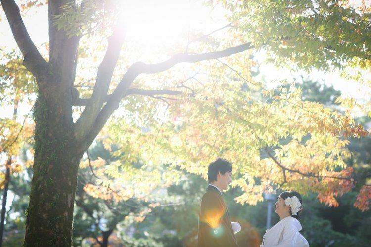 中村公園の秋の結婚写真
