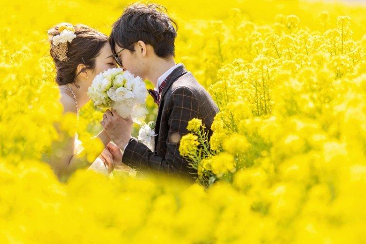菜の花とウェディングカップル