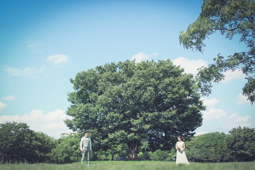 庄内緑地公園の人気スポットで撮ったウェディング写真